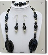 3548 Cracked Agate Necklace Bracelet And Earrings Set Acrylic Print