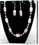 3560 Rose Quartz Necklace And Earrings Set Acrylic Print