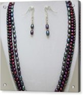 3562 Triple Strand Freshwater Pearl Necklace Set Acrylic Print