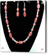 3570 Cherry Quartz Czech Glass Set Acrylic Print