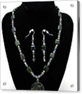 3576 Kambaba And Green Lace Jasper Necklace And Earrings Acrylic Print