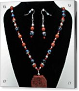 3578 Jasper And Agate Long Necklace And Earrings Set Acrylic Print
