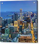 360chicago Rivers Begin To Glow - Skyline Panorama Acrylic Print