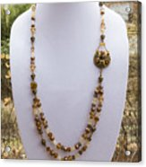 3615 Long Pearl Crystal And Citrine Necklace Featuring Vintage Brass Brooch  Acrylic Print