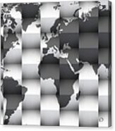 3d Black And White World Map Composition Acrylic Print
