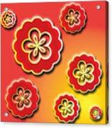 3d Digital Flowers Acrylic Print