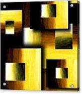 3d Golden Squares Acrylic Print