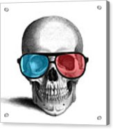 skull with 3D glasses Acrylic Print