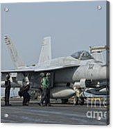 An Fa-18f Super Hornet On The Flight Acrylic Print