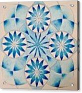 4 Blue Flowers Mandala Acrylic Print