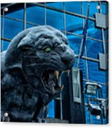 Carolina Panthers Statue Covered In Snow Acrylic Print