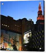 Terminal Tower And Sherwin Williams Building In Cleveland, Ohio, Usa Acrylic Print