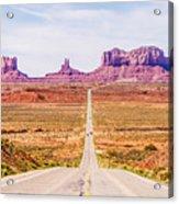 descending into Monument Valley at Utah  Arizona border  Acrylic Print