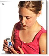 Diabetic Child With Blood Glucose Tester Acrylic Print