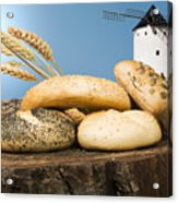 Different Breads And Windmill In The Background Acrylic Print