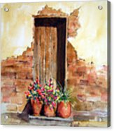 Door With Pots Acrylic Print
