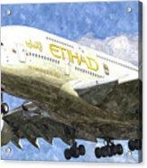 Etihad Airlines Airbus A380 Art Acrylic Print