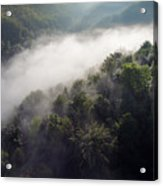 Fantastic Dreamy Sunrise On Foggy Mountains Acrylic Print