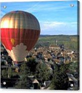 Hot Air Balloon Over Burgundy Acrylic Print