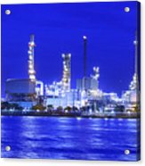 Landscape Of River And Oil Refinery Factory  Acrylic Print by Anek Suwannaphoom