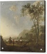Landscape With Herdsmen And Cattle Acrylic Print