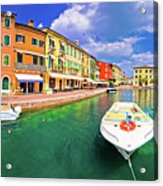 Lazise Colorful Harbor And Boats Panoramic View Acrylic Print
