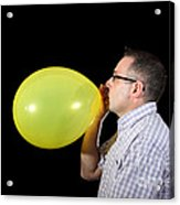 Man Inflating Balloon Acrylic Print