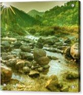 Nice River Water Flowing Through Rocks At Dawn Acrylic Print