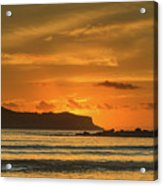 Orange Sunrise Seascape And Silhouettes Acrylic Print