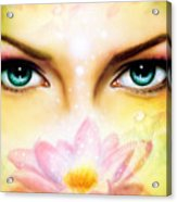 Pair Of Beautiful Blue Women Eyes Beaming Up Enchanting From Behind A Blooming Rose Lotus Flower Acrylic Print