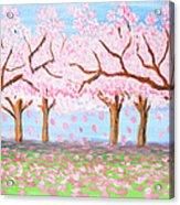 Pink Garden, Oil Painting Acrylic Print