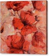 Poppy Flowers Handmade Oil Painting On Canvas Acrylic Print
