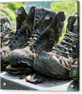 Row Of Old Leather Worn Out Shoes  Acrylic Print