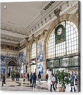 Sao Bento Railway Station Landmark Interior In Porto Portugal Acrylic Print