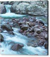 Slow Shutter Photo Of Figarella River At Bonifatu In Corsica Acrylic Print
