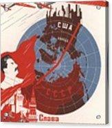 Stalin Soviet Propaganda Poster Acrylic Print