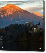 Sunset Over Lake Bled Acrylic Print