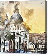 Venice Italy Digital Watercolor On Photograph Acrylic Print