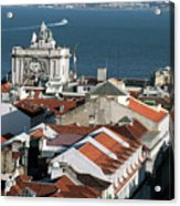 View Of Lisbon Harbor And Clock Tower Acrylic Print