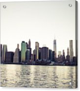 View Of Lower Manhattan Skyscrapers And Huge Sky Acrylic Print