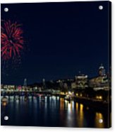 4th Of July Fireworks At Portland Waterfront 2016 Acrylic Print