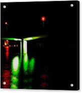 4x1 Moon Over Sarasota And Ringling Causeway Bridge At Night Acrylic Print