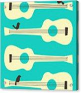 Birds On Guitar Strings Acrylic Print by Jazzberry Blue