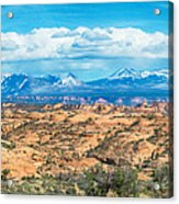 Canyon Badlands And Colorado Rockies Lanadscape Acrylic Print