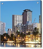 Honolulu Skyline Panorama Acrylic Print