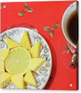 On The Eve Of Christmas. Tea Drinking With Cheese. Acrylic Print