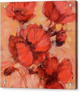 Poppy Flowers Handmade Oil Painting On Canvas Acrylic Print