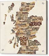 Scotland Typography Text Map Acrylic Print