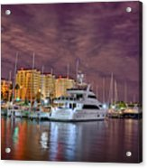 St Petersburg Florida City Skyline And Waterfront At Night Acrylic Print