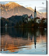 Sunset Over Lake Bled Acrylic Print
